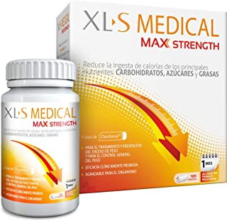 XL-S Medical Max Strength - Bloqueador de la absorción de Carbohidratos, Azúcares y Grasas, Para Adelgazar, Reduce la ingesta de Calorías y Antojos - 120 Comprimidos, 1 Mes de Tratamient