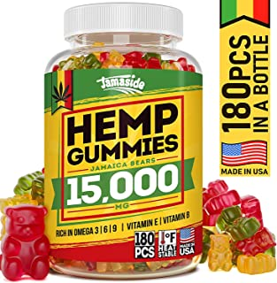 Hemp Gummies 15000 MG - Made in USA - 180 MG Hemp in Each Gummy - Premium Hemp Extract - CO2 Extraction - Omega 3, 6, 9 - Anxiety & Stress Relief - Sleep & Mood Improvement