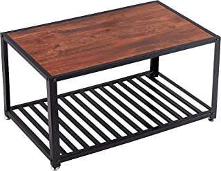 Loglus Industrial Coffee Table with Metal Shelf for Living Room, Office, Easy Assembly