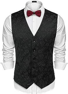 Men's Suit Vest Slim Fit Floral Jacquard Wedding Christmas Party Dress Tuxedo Waistcoat