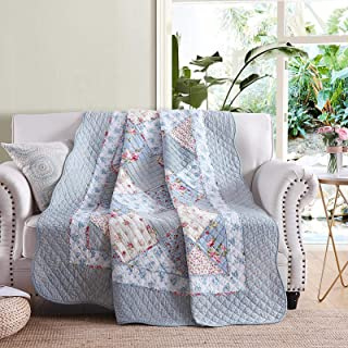 Light Blue Paisley, Twin VIVILINEN Patchwork Quilt 100/% Cotton Reversible Vintage Floral Paisley Quilted Blankets Lightweight Bed Throws for Couch Sofa Twin Bed