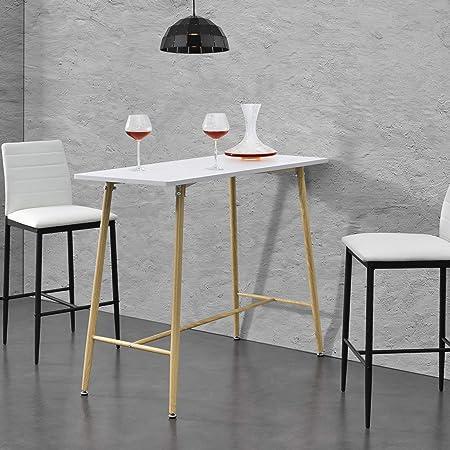 en.casa Bianco con Piano in Color Quercia Tavolo Alto da Bar con 3 Ripiani Portabottiglie Tavolo Bistro in Forma Quadrata 70 x 70 x 110 cm