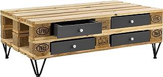 [en.casa] Set de 4 x Cajón para europalé - se Adapta Perfectamente - Gris (9,5cm x 37,5cm x 44,5 cm)
