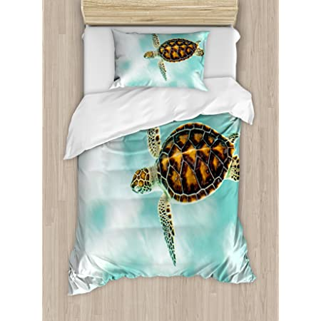 Baby Turtle Swimming in Abstract Waters Serene Nature Picture Ambesonne Turtle Duvet Cover Set Coffee Seafoam Decorative 3 Piece Bedding Set with 2 Pillow Shams King Size