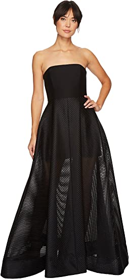 Halston Heritage - Strapless Gown w/ Sheer Striped Skirt