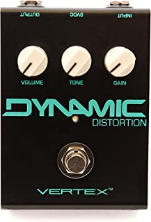 Vertex Effects Dynamic Distortion Guitar Effects Pedal Guitar or Bass Pedal with Control Gain Buffer Friendly Sonic Hybrid of Germanium Fuzz and TS Overdrive Distortion 4.6