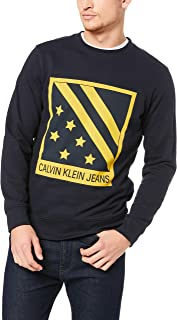 Calvin Klein Jeans Men's Big Chest Badge Crew Neck Sweatshirt, Blue, M
