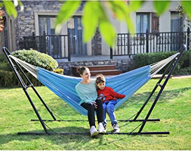 SONGMICS Double Hammock, 98.4 x 59.1 Inches, 660 lb Load Capacity, with Compression Bag, Mounting Straps, Carabiners, for Ter
