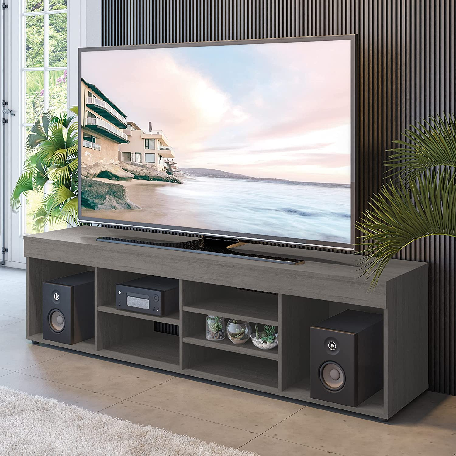Boahaus Selling Dakota TV Stand up to Shelves Gre inches 7 Quality inspection 65 Open