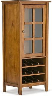 Simpli Home AXWSH008 Warm Shaker 12-Bottle Solid Wood 23 inch Wide Rustic High Storage Wine Rack Cabinet in Honey Brown