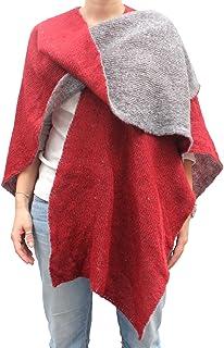 CG - Talento Fiorentino, mantella double face, poncho aperto, scialle coprispalle invernale fatto a maglia col. Rosso e Gr...