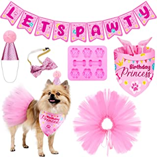 Boao 6 Pieces Dog Birthday Bandana Lets Pawty Banner Pink Tutu Skirt Puppy Birthday Hat Tie Dog Bone Shaped Silicone Mold ...