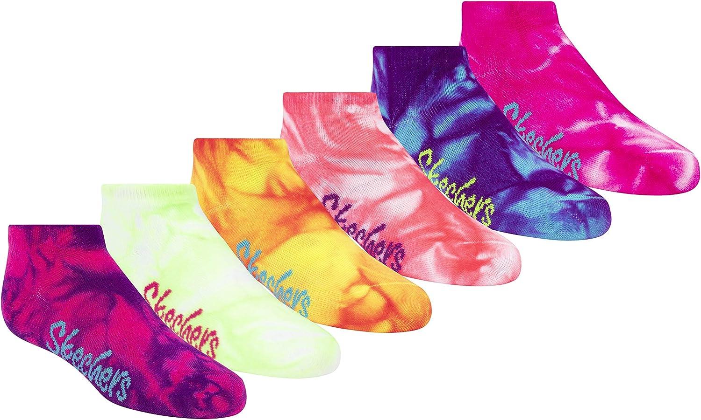 Skechers Girls' 6 Pack Low Cut Socks + 3 Pack Hair Ties
