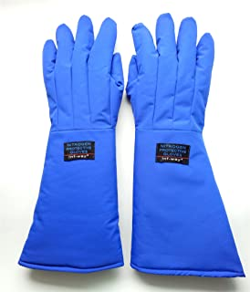 Inf-way 4 Sizes Long Cryogenic Gloves Waterproof Low Temperature Resistant LN2 Liquid Nitrogen Protective Gloves Cold Storage Safety Frozen Gloves (Blue Medium)
