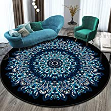 Vintage Round Rug Traditional Rug with Classic Floral Pattern in Persian Vintage Mandala Carpet,Short Pile Non Slip Bright...
