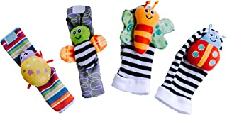 Little Archer & Co.™ Interactive Play Socks and Wristbands for Infants – 4 Piece Set Promotes Learning Through Sensory Pla...