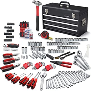 ARUCMIN 438-Piece Mechanics Tool Set with 3-Drawer Heavy Duty Metal Box Repair Tool Kit