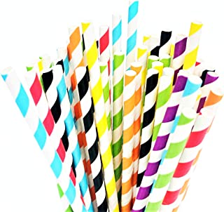 Natural Alt Biodegradable Paper Straws | Bulk 350-Pack Eco-Friendly Set |Rainbow Party Supplies | BPA Free Non-Plastic Drinking Alternative | Amazing for Parties, Restaurants, Anniversary Decoration