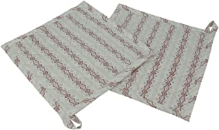 Shalinindia Set Of 2 Quilted Pot Holder White Printed kitchen accessory ideal for daily use