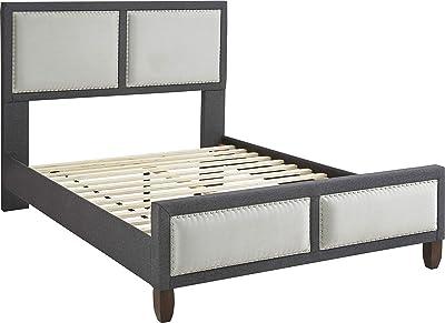Boyd Sleep Ellery Upholstered Platform Bed Frame with Linen Headboard and Footboard, Grey, Queen