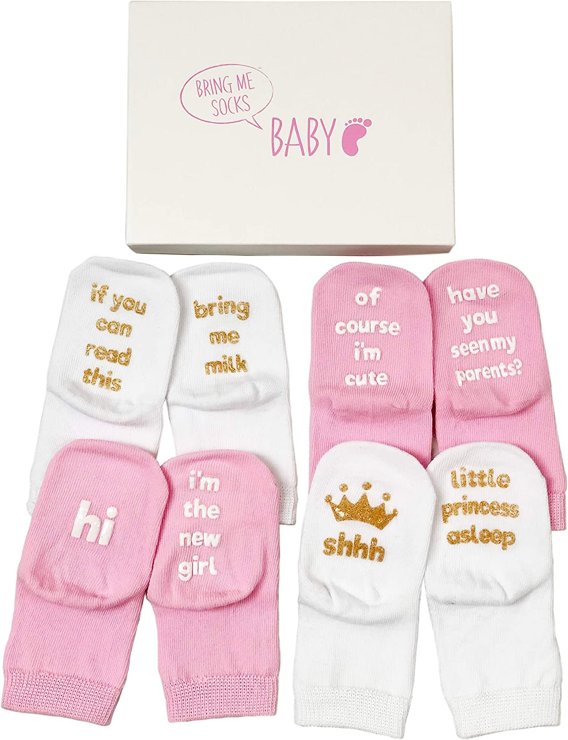 Baby Girl Socks Gift Set - Unique Baby Shower or Newborn Gift For Her - 4 Pairs of Cute Quotes in Gift Box