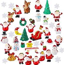 40 Pieces Christmas Miniature Ornaments Resin Miniature Fairy Garden Dollhouse Decoration Ornaments DIY Kit Christmas Pend...