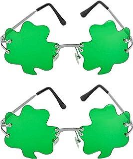 bee85730 SK Novelty ST. Patricks Day Green Shamrock Irish Clover Metal Frame  Sunglasses - 2 Pack