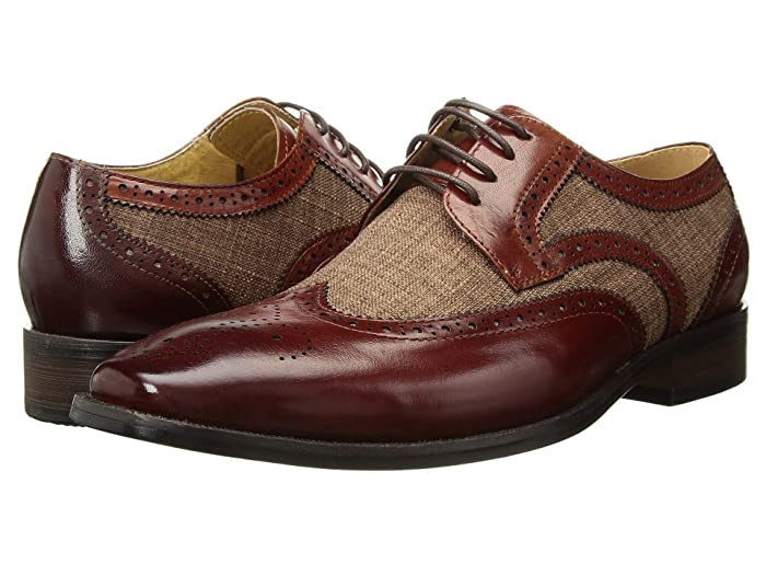 Men's 1950s Shoes Styles- Classics to Saddles to Rockabilly Stacy Adams Kemper Wingtip Oxford Tan Multi Mens Shoes $100.00 AT vintagedancer.com