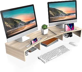 FITUEYES Dual Monitor Ständer Holz Drehbar Länge Verstellbar mit Halteschlitz für Smartphones Tablet PC Laptop Computer Bi...