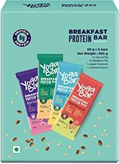 Yogabar Breakfast Protein Variety (Almond Coconut, Apricot & Fig, Blueberry, Apple Cinnamon Bars - 300gm, 6 x 50 g (Box of...