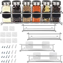 Spice Rack Organizer for Cabinet, Door Mount, or Wall Mounted – Set of 4 Chrome..