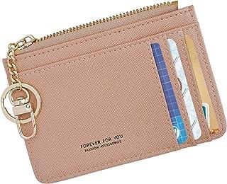 Women Slim Leather Minimalist Front Pocket Wallet Card Case Holder with ID Window & Keychain (Pink)
