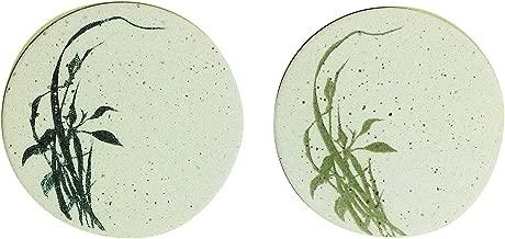 〔立風屋〕珪藻土コースター|立風コースター ペアパック 草(2枚セット 黒&草色) RPCS-ST