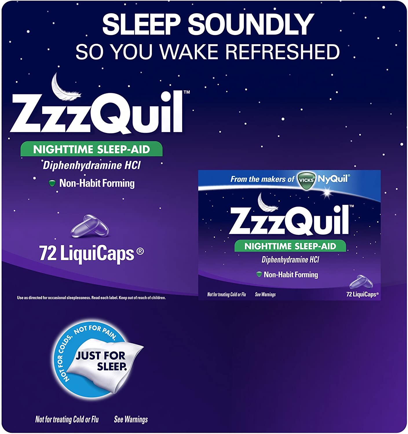 ZzzQuil Nighttime Sleep-Aid Super sale period limited LiquiCaps 72 ct. 2 of Pack Be super welcome