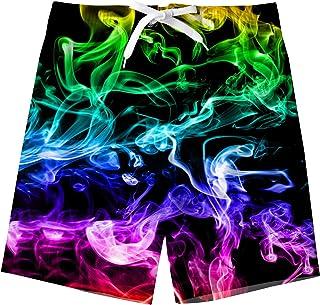 TUONROAD Kids Boys Swim Shorts Funny 3D Printed Quick Dry Beach Swim Trunks 5-14 Years