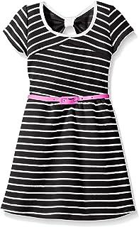 فستان BTween بناتي قصير الأكمام مخطط مع حزام