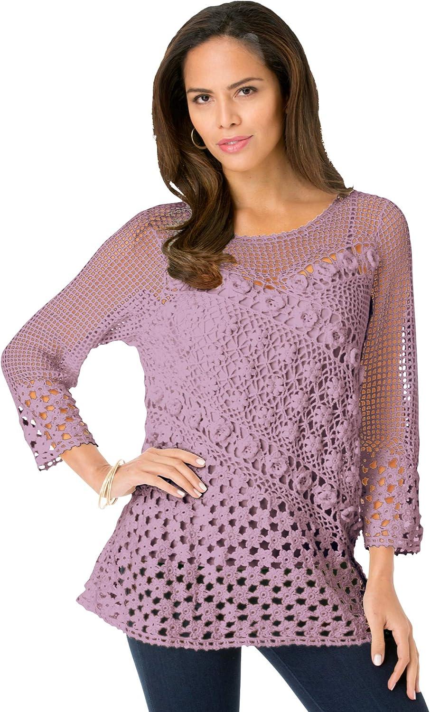 Roamans Women's Plus Size Floral Crochet Sweater