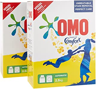 OMO Active Auto Laundry Detergent Powder +Touch of Comfort Perfume, 2.5 kg Twin Pack