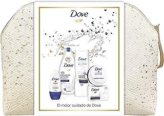 Dove Neceser Brillos Mujer - Gel Hidratación Profunda 500 ml + Loción Esencial 400 ml + Tarro Crema 75 ml + Roll On Origin...