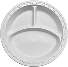 Simply Deliver 9-Inch Plastic Plate, 3-Compartments, Microwavable and Dishwasher Safe, White, 500-Count