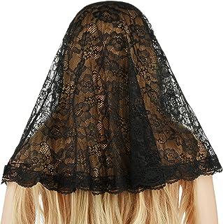Beautyflier Black Veil Lace Mantilla Catholic Church Chapel Veil Head Covering Latin Mass
