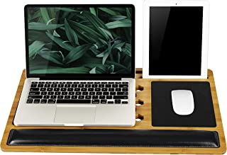 LapGear BamBoard Pro Lap Desk with Wrist Rest, Mouse Pad, and Phone Holder - Natural Bamboo - Fits up to 17.3 Inch Laptops...