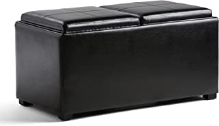 Simpli Home AY-F-15B-BL Avalon 35 inch Wide Contemporary  Storage Ottoman in Midnight Black Faux Leather