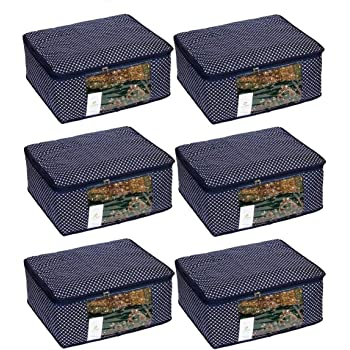 Homestrap 3 Layered Cotton Quilted Large Saree Cover Bag/Wardrobe Organiser with Transparent Window- Navy Blue - Pack of 6