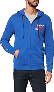 Tommy Jeans Tjm Essential Graphic Zip Trough Felpa, Blu (Blue Ckb), Large Uomo