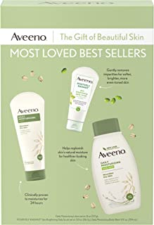 Aveeno Most Loved Best Sellers Skincare Set with Daily Moisturizing Body Wash, Positively Radiant Brightening Daily Scrub, and Daily Moisturizing Lotion