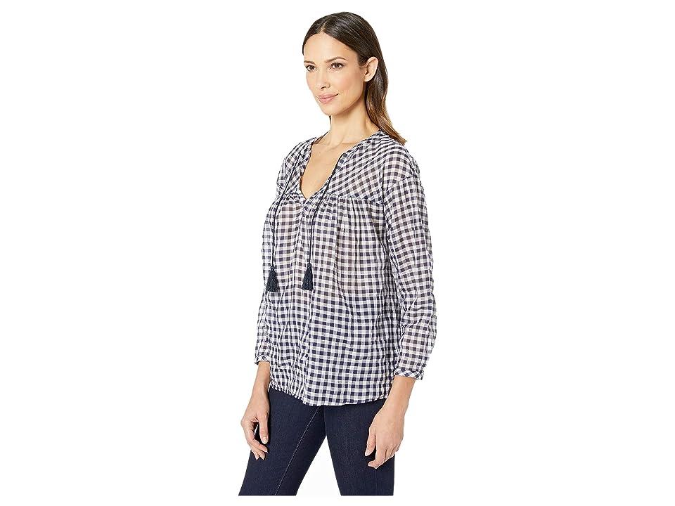 Elliott Lauren Crinkle Gingham Pullover Top With Tassels (Navy/White) Women's Blouse, Blue