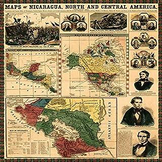 خرائط سكان نيكاراغوا الشمالية والوسطى للأميال المربعة من نيكاراغوا الولايات المتحدة الأمريكية المكسيكية والمكسيك مع مسارات...