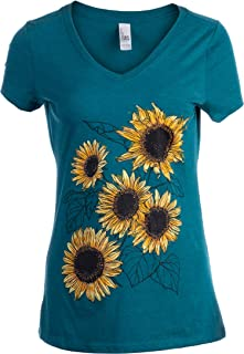 Sunflower Sketch | Blooming Flowers Garden Floral Art Gardening V-Neck T-Shirt for Women