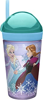 Zak Designs Frozen Girl ZakSnak All-In-One Drink Tumbler + Snack Container For Toddlers – Spill-proof 4oz Snack Container Screws Securely Onto 10oz Tumbler With Accessible Straw, Frozen Girl